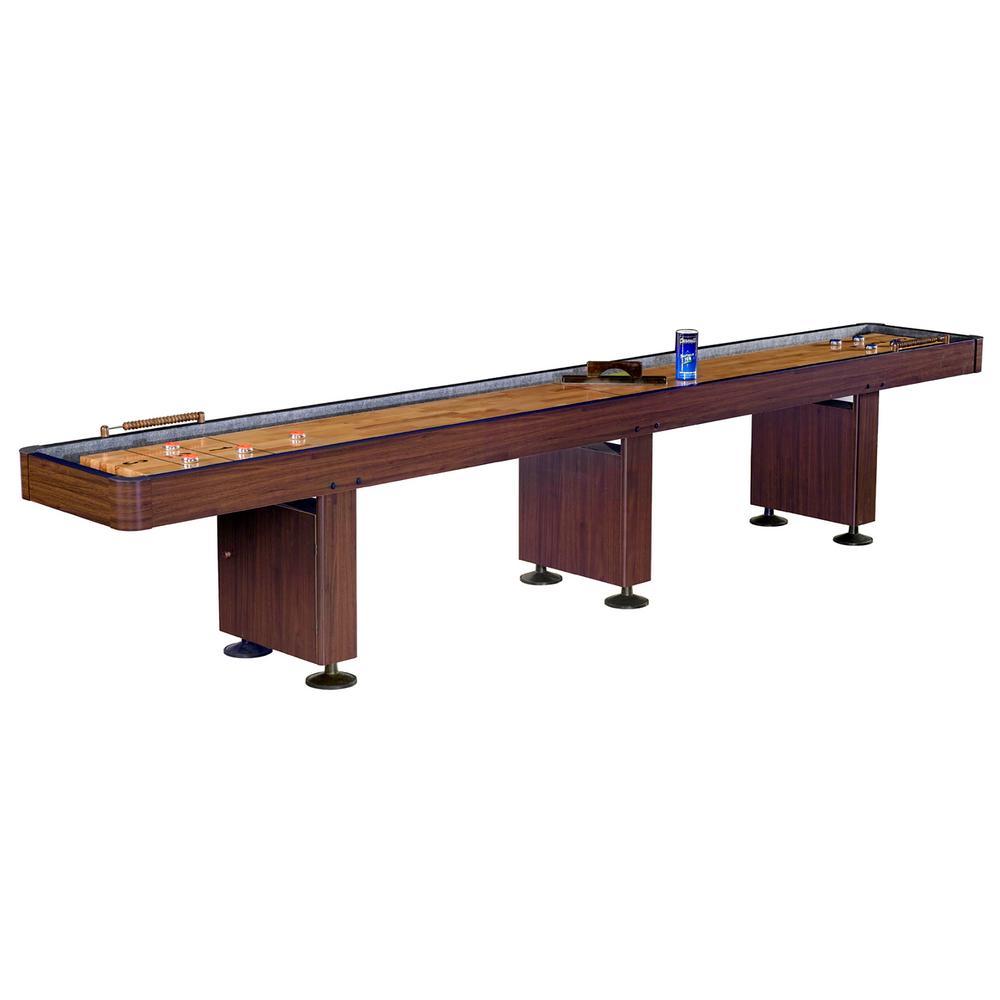 Challenger 14 ft. Shuffleboard Table w Walnut Finish, Hardwood Playfield,