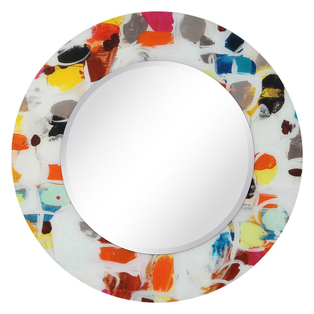 Unbranded Large Round Multi Color Hooks Art Deco Mirror 48 In H X 48 In W Tam 79857 48r The Home Depot