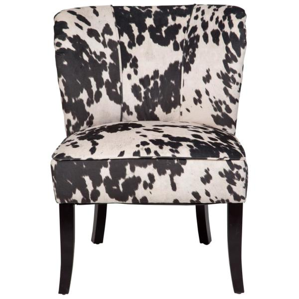 Mimi Black and White Cow Print Tulip-Back Accent Chair 01-33C-03-184A