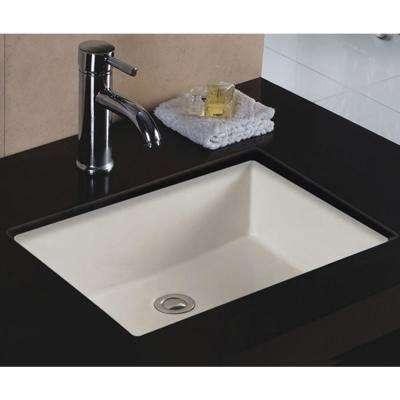 20 in. x 16 in. x 6 in. Rectangular Vitreous Ceramic Lavatory Single Bowl Undermount in Bisque