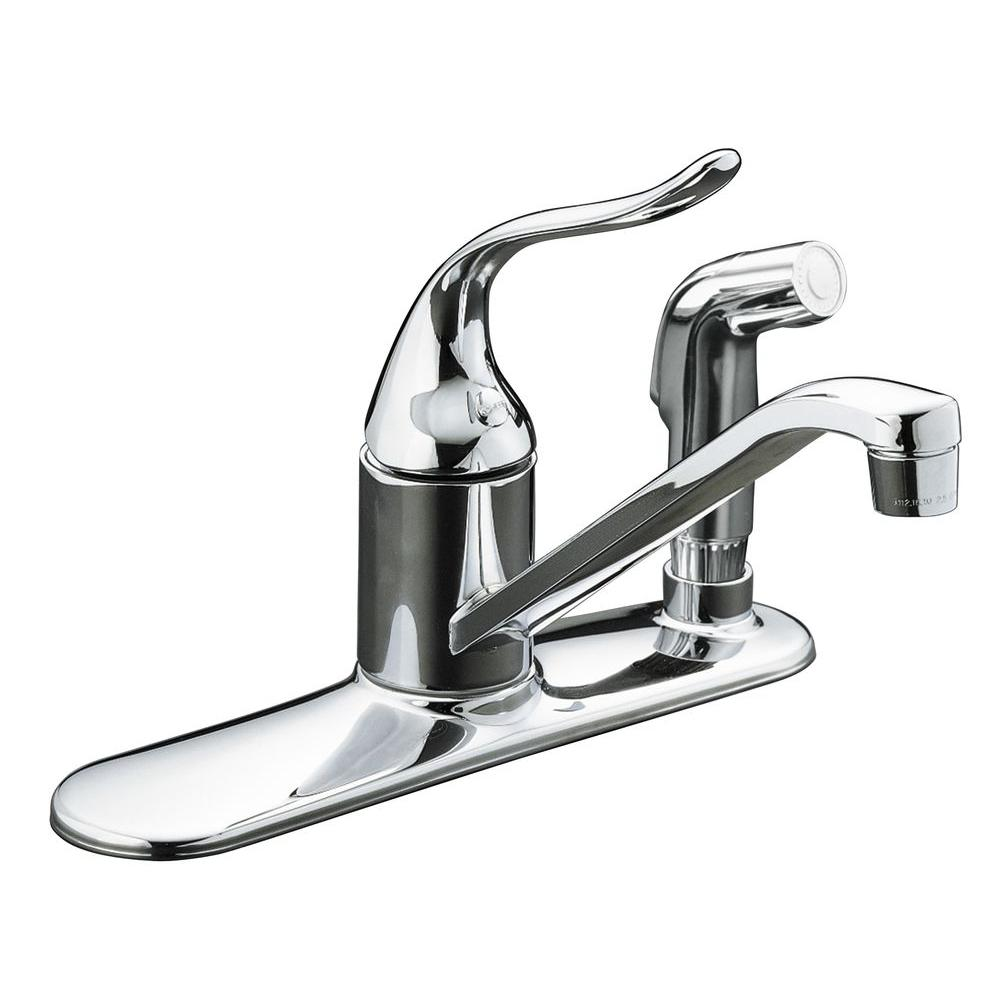 KOHLER Coralais Low-Arc Single-Handle Standard Kitchen Faucet with Side  Sprayer and Escutcheon in Polished Chrome