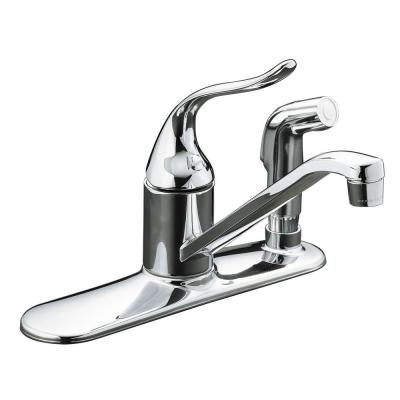 Coralais Low-Arc Single-Handle Standard Kitchen Faucet with Side Sprayer and Escutcheon in Polished Chrome