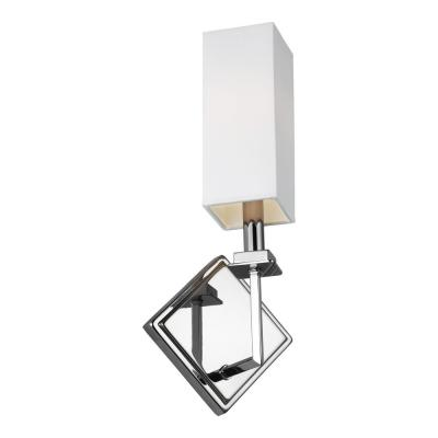 Myron 7 in. Chrome Sconce with White Lined Parchment Shade