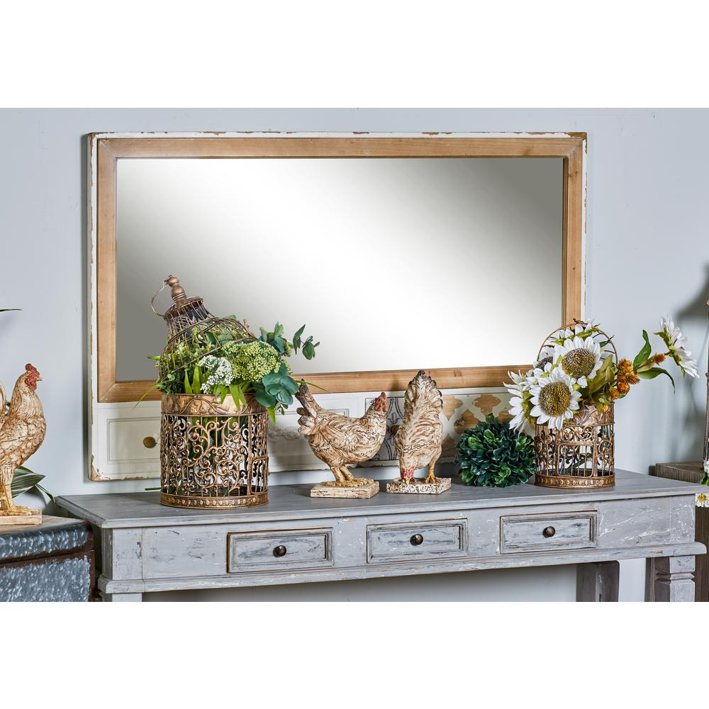 Rectangular Brown Decorative Wall Mirror