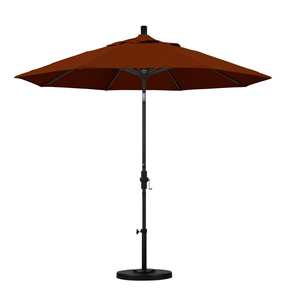 9 ft. Aluminum Collar Tilt Patio Umbrella in Brick Pacifica