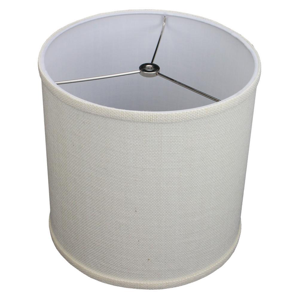 10 in. Top Diameter x 10 in. H x 10 in. Bottom Diameter Burlap Off White Drum Lamp Shade