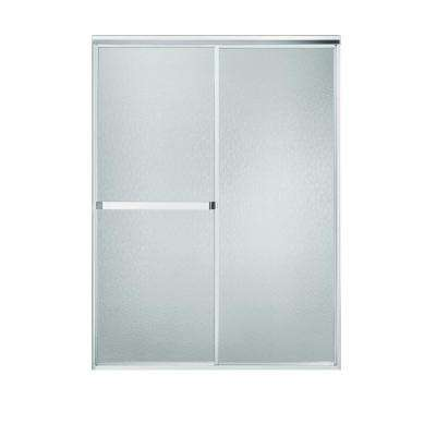 Standard 48 in. x 65 in. Framed Sliding Shower Door in Silver with Handle