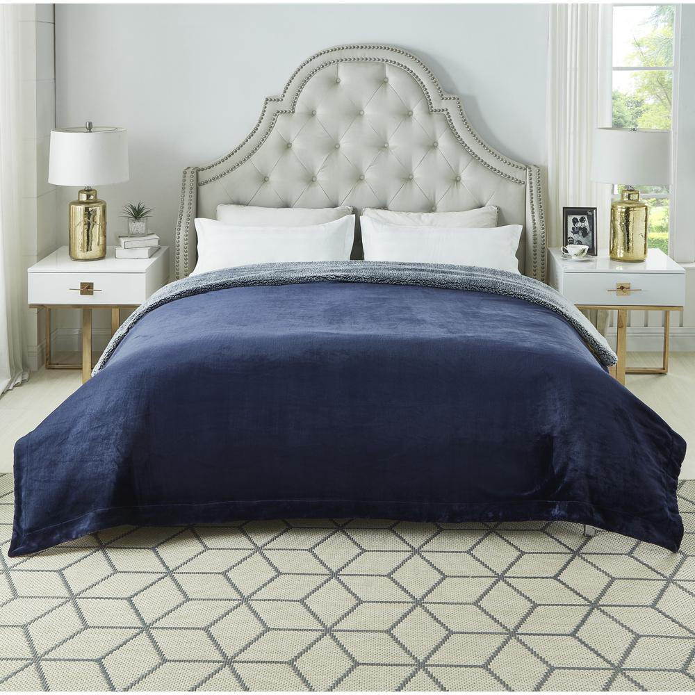 Orville Navy Throw Super Soft 100% Polyester 60 in. x 80 in.