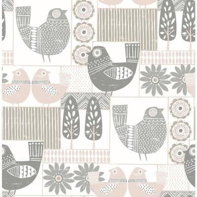 Spring Chickens Gray Wallpaper Sample