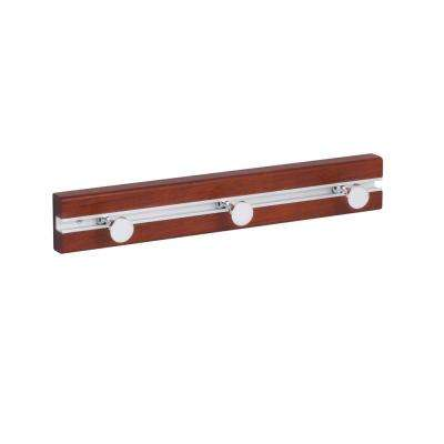 14.57 in. L x 2.28 in. H Cherry Wood  3-Movable Peg Hooks Wall Rack