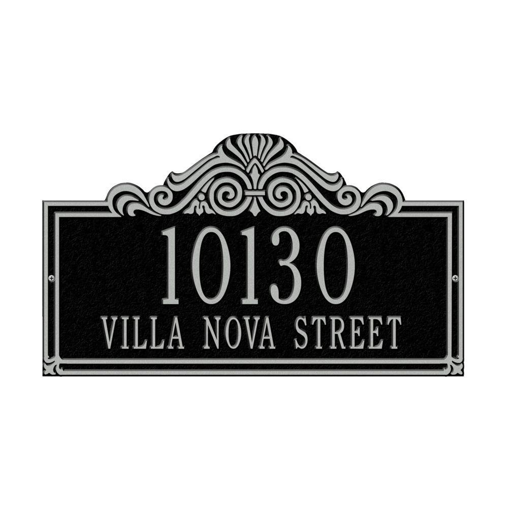 Whitehall Products Villa Nova Rectangular Black/Silver Standard Wall Two Line Address Plaque
