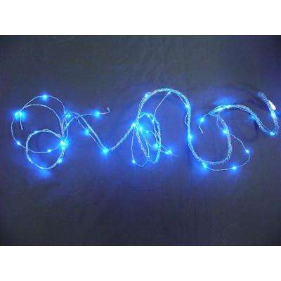 9 ft. LED Blue Battery Operated Multi Braided Garland