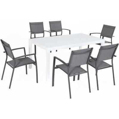 Del Mar 7-Piece Aluminum Outdoor Dining Set with 6 Sling Chairs and a 78 in. x 40 in. Dining Table
