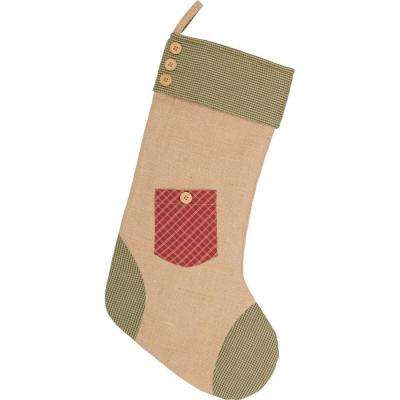 20 in. Cotton and Jute Red Dolly Star Primitive Christmas Decor Pocket Stocking