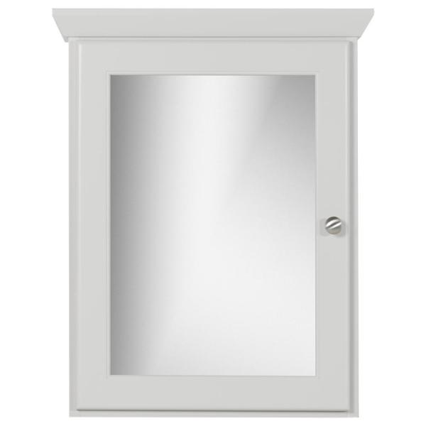 19 in. W x 27 in. H x 6.5 in. D Single Door Surface-Mount Medicine Cabinet Rounded/Mirror in Dewy Morning