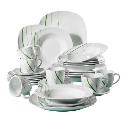 Aviva 30-Piece Porcelain Ivory White Dinnerware Set with Green Stripe,Plates Cups and Saucers(Service of 6)
