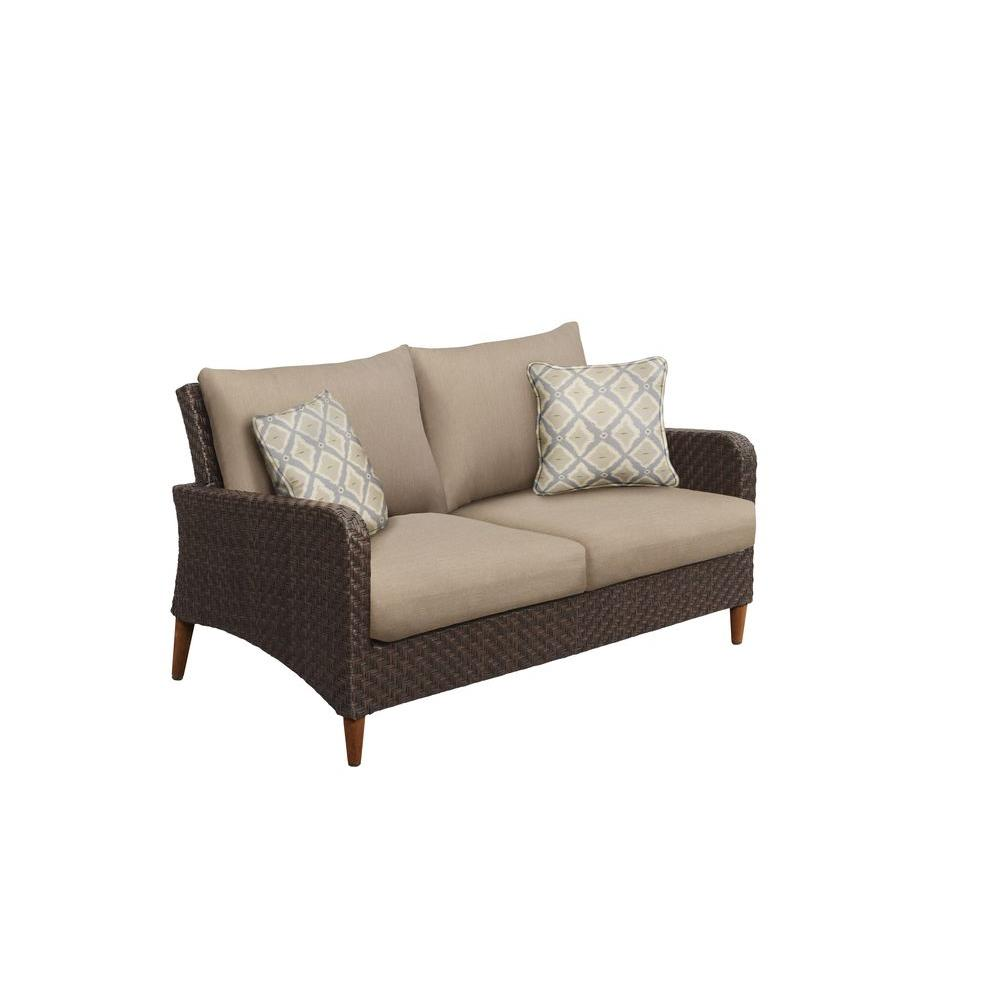 Brown Jordan Marquis Patio Loveseat with Sparrow Cushions and Bazaar Throw Pillows -- CUSTOM