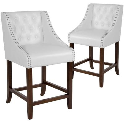 24 in. White Leather Bar stool (Set of 2)