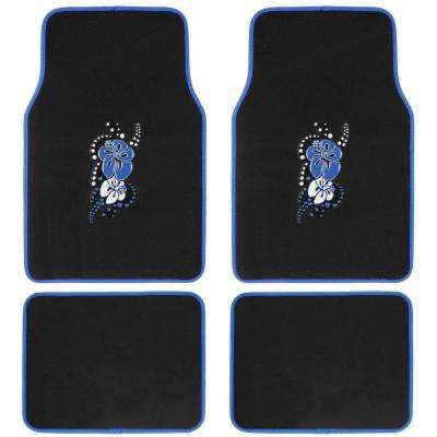 Blue Hawaiian Flower MT-452-BL Design 4 Pieces Carpet Car Floor Mats