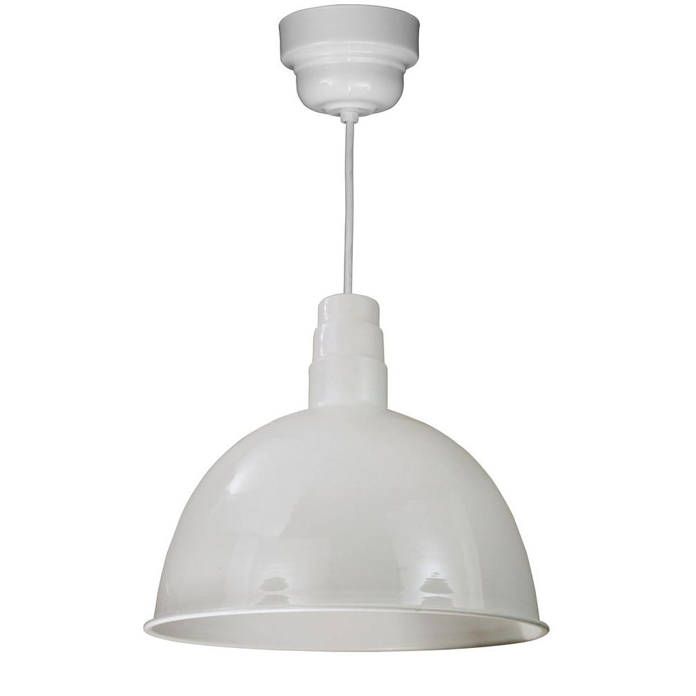 Illumine 1-Light Outdoor Hanging White Deep Bowl Pendant with Wire Guard