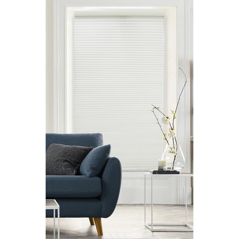Radiance Cut-to-Size Pure White Cordless Light Filtering Cellular Shade - 35 in. W x 72 in. L (Actual Size 34.5 in. W x 72 in. L)