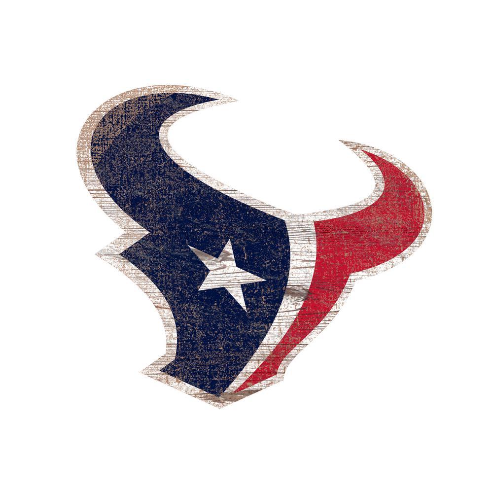 Houston Texans: NFL Indoor Houston Texans Distressed Logo Cutout Wood Sign