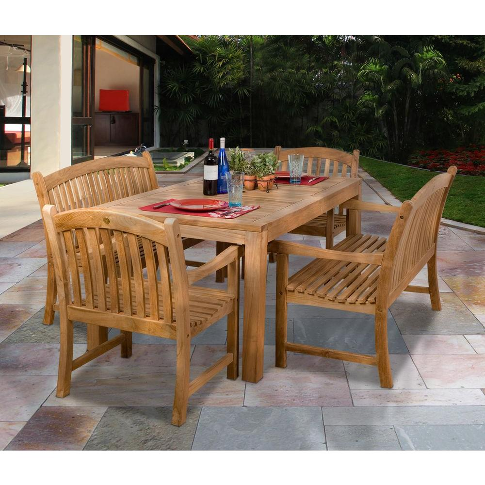 Amazonia geneve 5 piece teak patio dining set sc geneve the home depot Home depot teak patio furniture