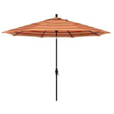 11 ft. Stone Black Aluminum Market Crank Lift Patio Umbrella in Astoria Sunset Sunbrella
