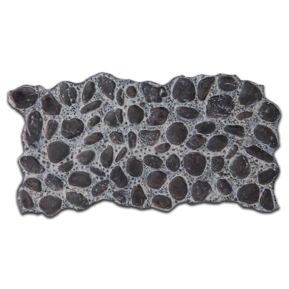 51 in. x 27 in. Polyurethane River Rock Faux Stone Panel in Dark Espresso
