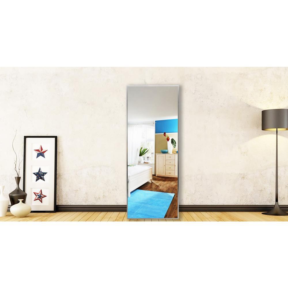 58.125 in. x 20.125 in. Romeo Silver Sheen Full Body Vanity Mirror