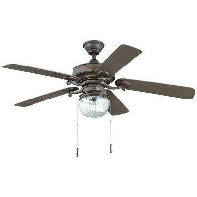 Bromley 52 in. LED Indoor/Outdoor Bronze Ceiling Fan  with Light Kit