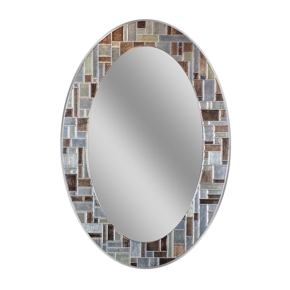 Deco Mirror 31 in. L x 21 in. W Windsor Oval Tile Wall Mirror
