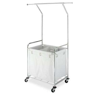 Commercial Laundry Center White Chromed Steel Frame 3-Bin Laundry Sorter with Hanging Bar and Locking Wheels