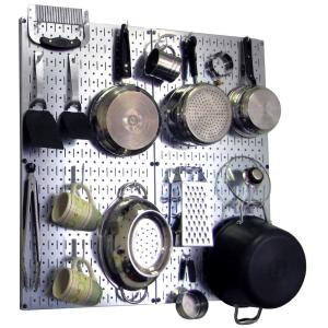 8f60e8e3868 Wall Control Kitchen Pegboard 32 in. x 32 in. Steel Peg Board Pantry ...