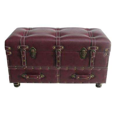 Burgundy Faux Leather Trunk