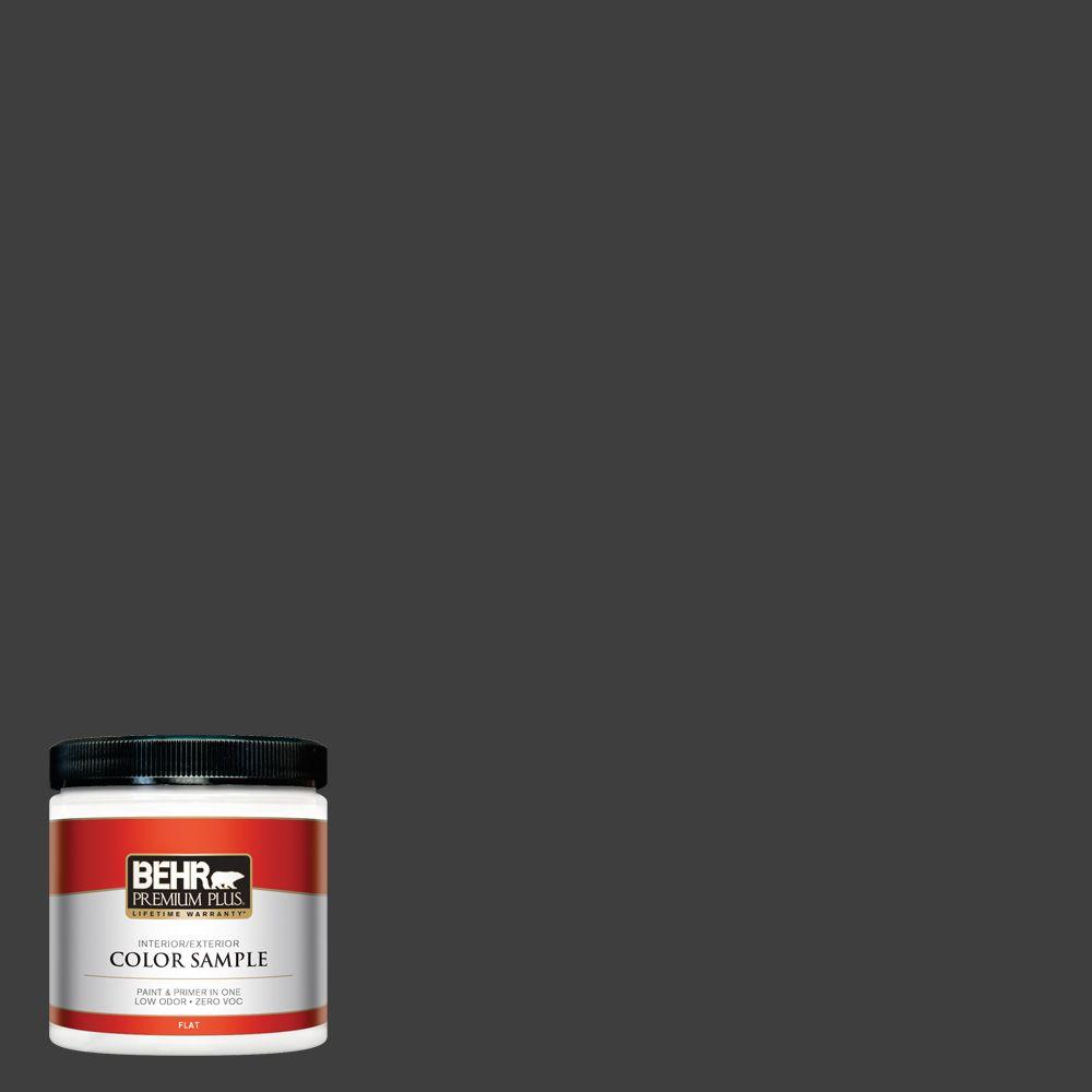 BEHR Premium Plus 8 oz. #T13-3 Black Lacquer Zero VOC Interior/Exterior Paint Sample