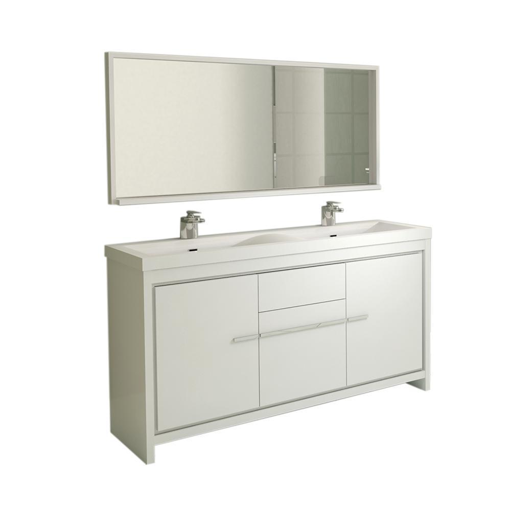 The Modern 56. in. W x 19.87 in. D Bath Vanity in White with Acrylic Vanity Top in White with White Basin and Mirror