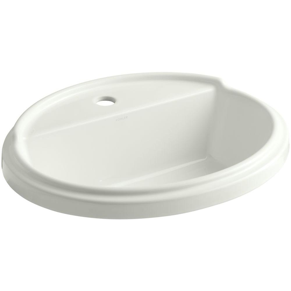 KOHLER Tresham Drop-In Vitreous China Bathroom Sink in Dune with Overflow Drain