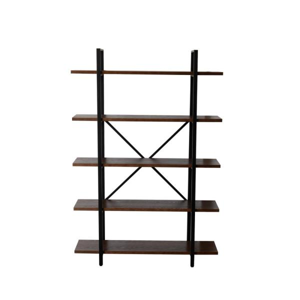 70 in. Walnut Brown Metal 5-shelf Etagere Bookcase with Open Back