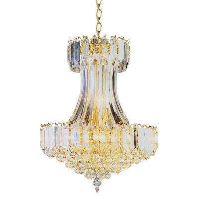 Stewart 8-Light Polished Brass Chandelier with Beveled Acrylic Crystal Shades