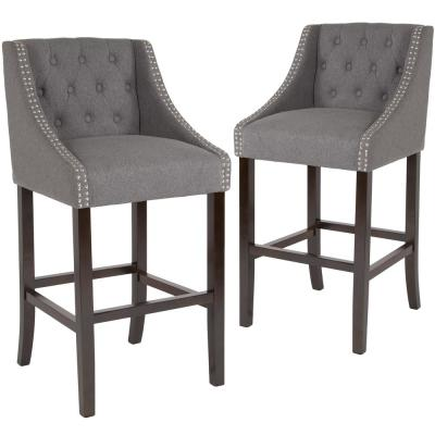 42 in. Dark Gray Fabric Bar Stool (Set of 2)