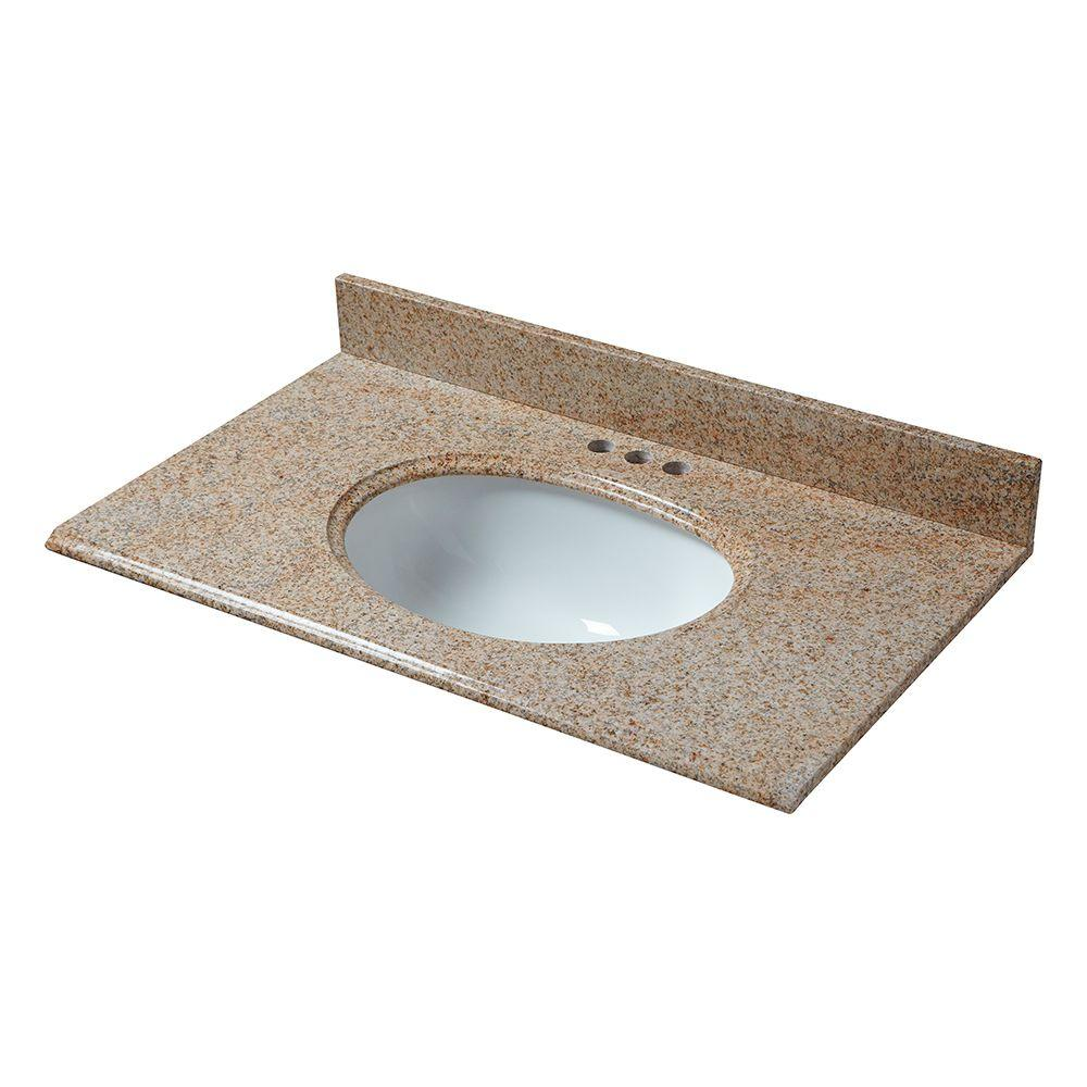 Pegasus 25 in. x 22 in. Granite Vanity Top in Beige with White Bowl and 4 in. Faucet Spread