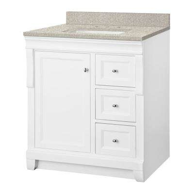 Naples 31 in. W x 22 in. D Vanity in White with Engineered Marble Vanity Top in Sedona with White Sink
