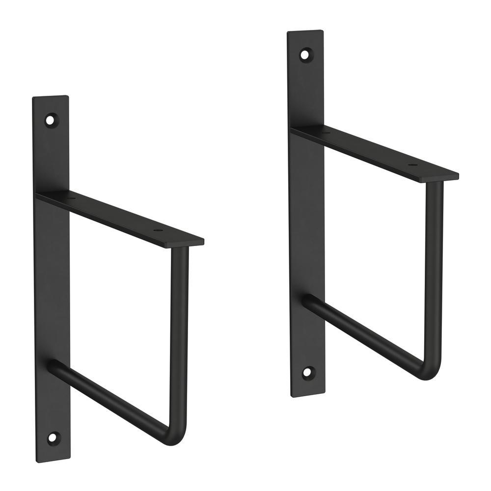 6 in. Matte Black Steel U-Shaped Decorative Shelf Bracket (2-Pack)