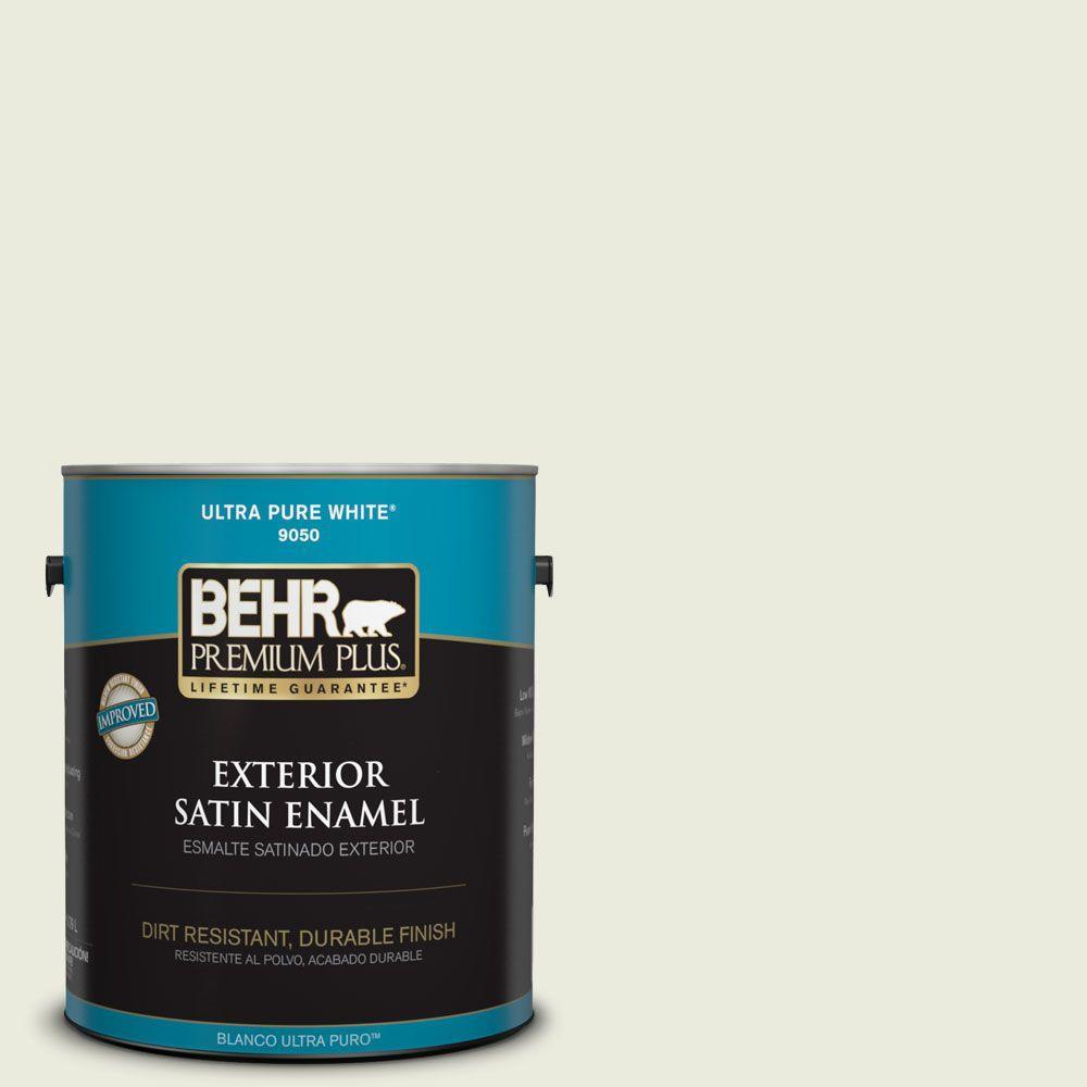 1-gal. #BWC-18 Spring White Satin Enamel Exterior Paint