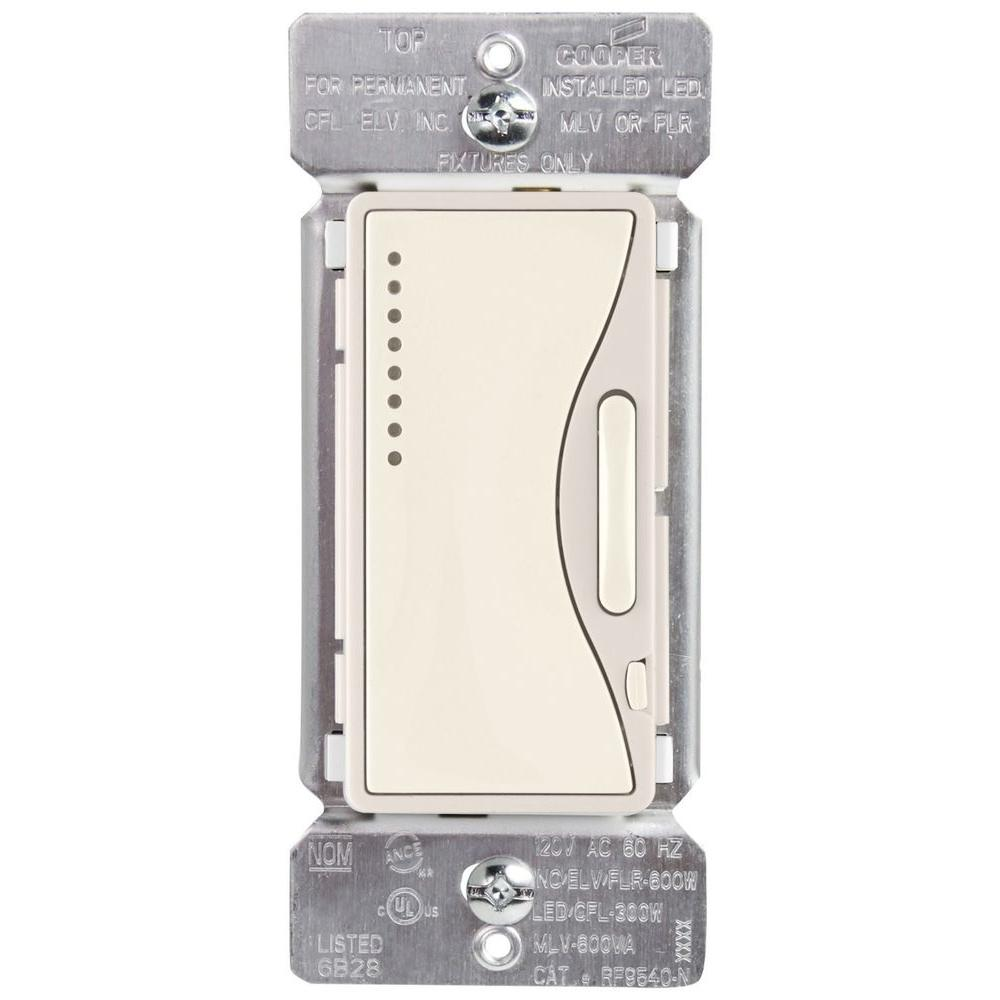 Eaton Aspire Single-Pole Multi-Location Master Dimmer Light Switch, Desert  Sand