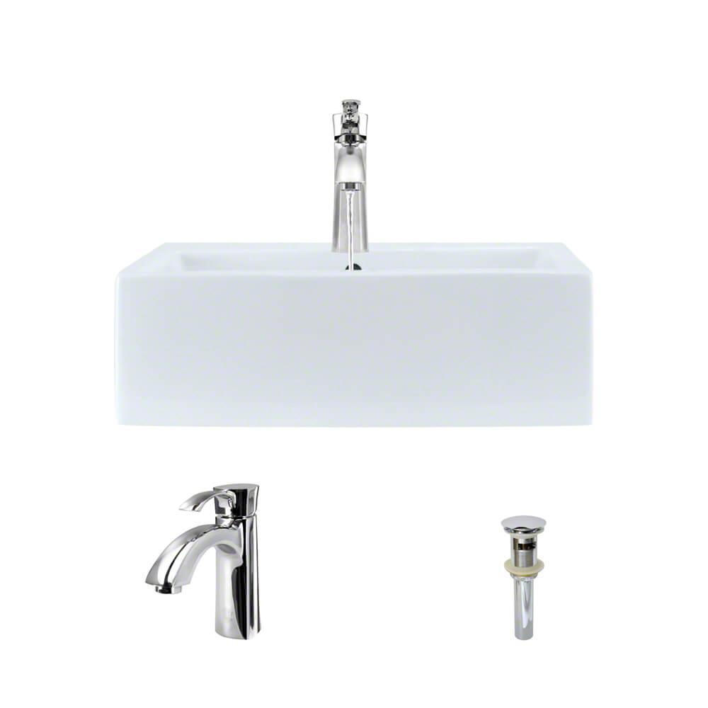Porcelain Vessel Sink in White with 7005 Faucet and Pop-Up Drain