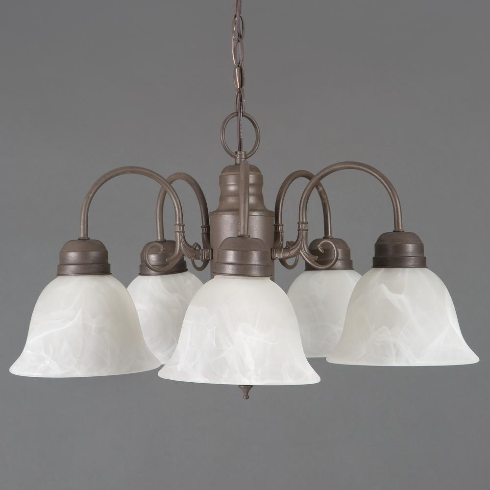 Manzanita Collection 5-Light Dark Brown Hanging Chandelier with Frosted Marble