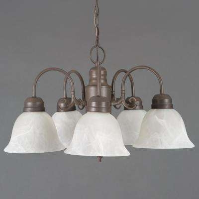 Manzanita Collection 5-Light Dark Brown Hanging Chandelier with Frosted Marble Glass Shade