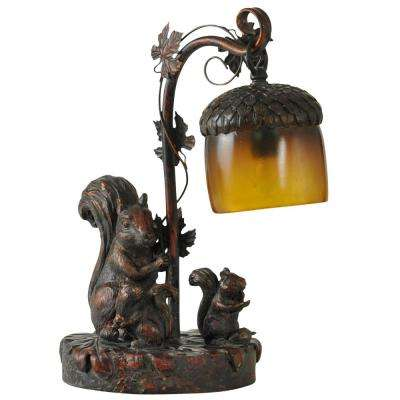 15 in. Dark Bronze Table Lamp with Amber Glass Shade